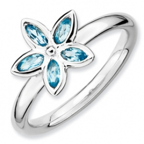 QSK490-7 Sterling Silver Stackable Expressions Blue Topaz Flower Ring