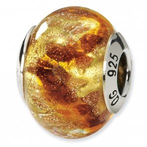 QRS1530 Sterling Silver Yellow/Gold/Brown Italian Murano Bead