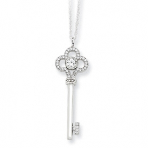 QMP330-18 Sterling Silver & CZ Polished Key Necklace