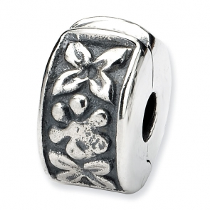 QRS10 Sterling Silver Reflections Hinged Floral Clip Bead
