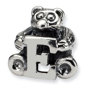 QRS712E Sterling Silver Reflections Kids Letter E Bead