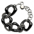 SRB563-8 Stainless Steel Black Ceramic and Stainless Link Bracelet