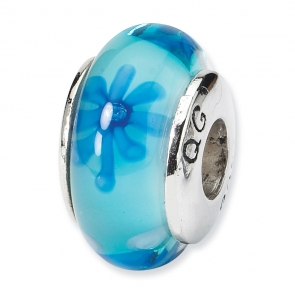 QRS674 Sterling Silver Reflections Blue Floral Hand-blown Glass Bead