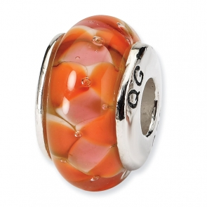 QRS616 Sterling Silver Reflections Orange Hand-blown Glass Bead