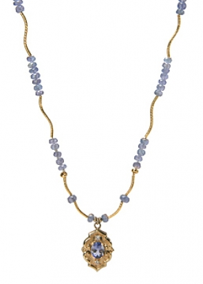 NG10-50  Iolite & Diamond Necklace 14KY