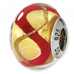 QRS1528 Sterling Silver Yellow/Gold/Red Italian Murano Bead