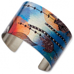 SRB624 Stainless Steel Coral Colored Cuff Bangle