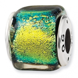 QRS1486 Sterling Silver Yellow Dichroic Glass Square Bead