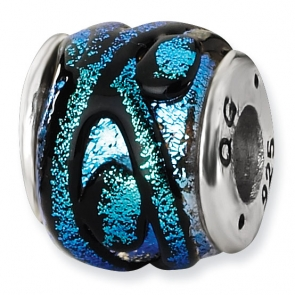 QRS1476 Sterling Silver Blue Dichroic Glass Bead
