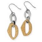 SRE185 Stainless Steel Gold IP Plated Dangle Earrings
