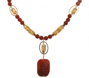 NG22-289  Citrine & Carnelian Necklace