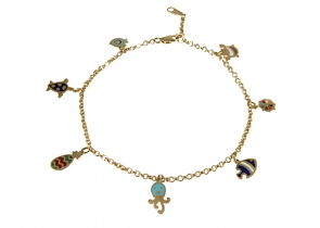 BG24-23 Enameled Tropical Bracelet 14K