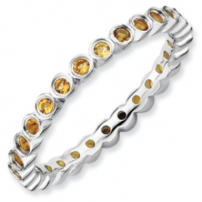 QSK372-7 Sterling Silver Stackable Expressions Citrine Ring