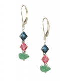 ESS22-318  Jade & Crystal Earrings