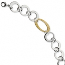SRB403-8 Stainless Steel Gold IP Plated Circles Link Bracelet