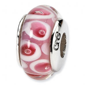 QRS1105 Sterling Silver Reflections Pink/Red Hand-blown Glass Bead
