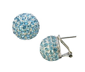 EG17-115  Blue Topaz Sphere Earrings