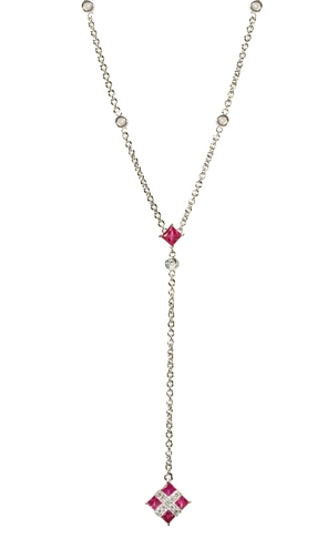 NG3-193  Ruby & Diamond Dangle 14KW Necklace
