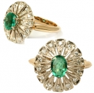 RTT2-324  Emerald & Diamond Ring 14K White &Yellow Gold
