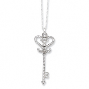 QMP291-18 Sterling Silver & CZ Polished Key Necklace