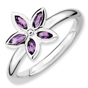 QSK488-7 Sterling Silver Stackable Expressions Amethyst Flower Ring