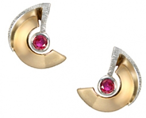 ETT3-54  Modern Ruby Earrings 14K