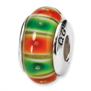 QRS663 Sterling Silver Reflections Green/Orange Hand-blown Glass Bead