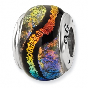 QRS1462 Sterling Silver Rainbow Dichroic Glass Bead