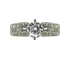 RGI - 152  Diamond Engagement Ring 18K White Gold