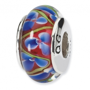 QRS695 Sterling Silver Reflections Blue/Red Hand-blown Glass Bead