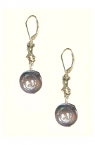 ESS13-308  Unique Coin Pearl Earrings SS