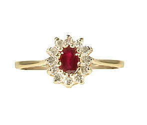 RG3-223  Ruby and Diamond Ring 14K Yellow Gold