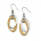 SRE186 Stainless Steel Gold IP Plated Dangle Earrings