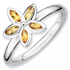 QSK489-7 Sterling Silver Stackable Expressions Citrine Flower Ring