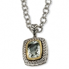 QTC33 Sterling Silver w/14k 9.73 ct.Green Amethyst 20in Necklace