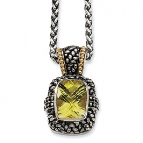 QTC79 18 in. Lemon Quartz Necklace