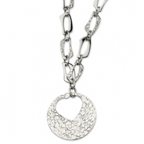SRN607-22 Stainless Steel Polished & Textured w/ Heart Cutout Pendant 22 w/ 2in Ext N
