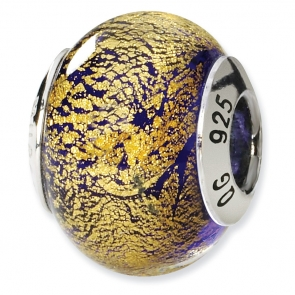 QRS1539 Sterling Silver Gold/Purple Italian Murano Bead
