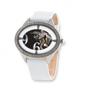 XWA3490 Ladies Ed Hardy Showgirl New York White Band 45x35mm Watch