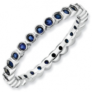 QSK370-7 Sterling Silver Stackable Expressions Created Sapphire Ring