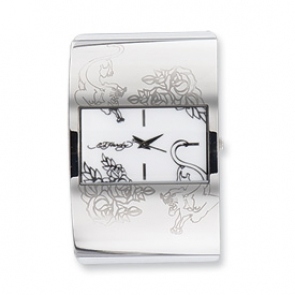 XWA3484 Ladies Ed Hardy Icon White Leather Hinged 40x60mm Cuff Bangle Watch